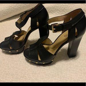 Michael Kors Shoes - Women's Michael Kors Black w/ Gold Accents Heels
